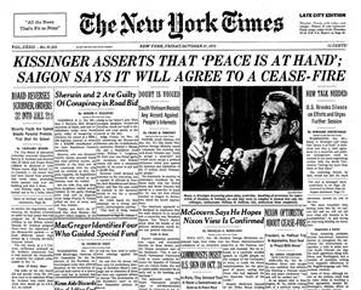 Image result for henry kissinger says peace is at hand in vietnam